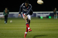 Lennox Anyanwu of London Scottish warms up during the Greene King IPA Championship match between London Scottish Football Club and Nottingham Rugby at Richmond Athletic Ground, Richmond, United Kingdom on 7 February 2020. Photo by Carlton Myrie.