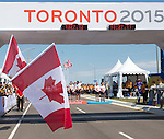 MILTON, ON, AUGUST 13, 2015. Cycling time trials, including a Canadian sweep in MixedB Time Trials - Gold medalists Daniel Chalifour & Alexandre Cloutier, Silver Medallists Robbi Weldon & Audrey Lemieux, and Bronze Medallists Shawna Ryan & Joanie Caron.<br /> Photo: Dan Galbraith/Canadian Paralympic Committee