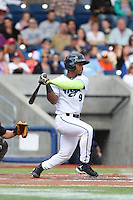 Fernery Ozuna (9) of the Hillsboro Hops bats during a game against the Salem-Keizer Volcanoes at Ron Tonkin Field on July 26, 2015 in Hillsboro, Oregon. Hillsboro defeated Salem-Keizer, 4-3. (Larry Goren/Four Seam Images)