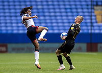 Bolton Wanderers' Peter Kioso competing with Oldham Athletic's Jordan Barnett (right) <br /> <br /> Photographer Andrew Kearns/CameraSport<br /> <br /> The EFL Sky Bet League Two - Bolton Wanderers v Oldham Athletic - Saturday 17th October 2020 - University of Bolton Stadium - Bolton<br /> <br /> World Copyright © 2020 CameraSport. All rights reserved. 43 Linden Ave. Countesthorpe. Leicester. England. LE8 5PG - Tel: +44 (0) 116 277 4147 - admin@camerasport.com - www.camerasport.com