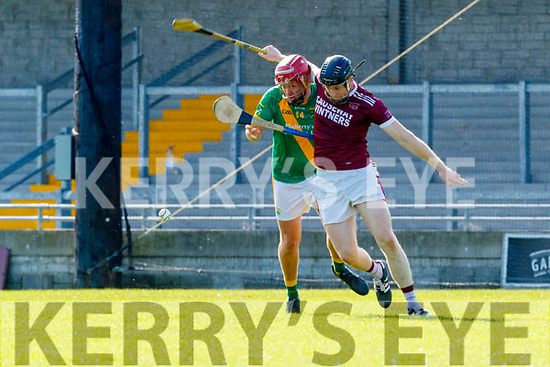 Sean Maunsell, Kilmoyley in action against Muiris Delaney, Causeway during the Kerry County Senior Hurling Championship Final match between Kilmoyley and Causeway at Austin Stack Park in Tralee