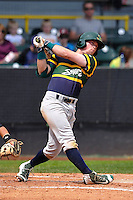 Beloit Snappers Trace Loehr (2) swings during the Midwest League game against the Clinton LumberKings at Ashford University Field on June 12, 2016 in Clinton, Iowa.  The LumberKings won 1-0.  (Dennis Hubbard/Four Seam Images)
