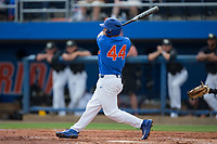 Austin Langworthy (44) of the Florida Gators follows through on his swing against the Wake Forest Demon Deacons in Game Three of the Gainesville Super Regional of the 2017 College World Series at Alfred McKethan Stadium at Perry Field on June 12, 2017 in Gainesville, Florida. The Gators defeated the Demon Deacons 3-0 to advance to the College World Series in Omaha, Nebraska. (Brian Westerholt/Four Seam Images)