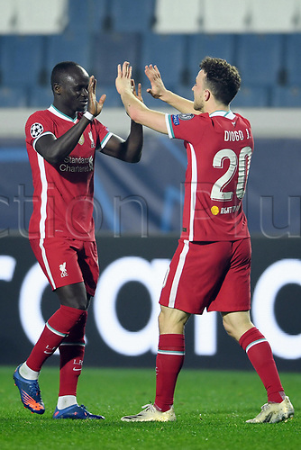 3rd November 2020; Bergamo, Lombardy, Italy. UEFA Champions League football, group stages, Atalanta versus Liverpool FC;  Goal celebrations from scorer Diogo Jota for his hat trick for 0-5 in the 54th minute