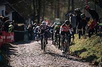 Greg Van Avermaet (BEL/BMC) up the Molenberg cobbles<br /> <br /> Omloop Het Nieuwsblad 2018<br /> Gent › Meerbeke: 196km (BELGIUM)