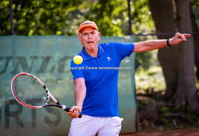 Hilversum, The Netherlands,  August 18, 2020,  Tulip Tennis Center, NKS, National Senior Championships, Men's single 70+ ,  Frank van Lerven (NED) <br /> Photo: www.tennisimages.com/Henk Koster