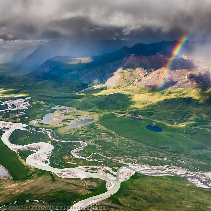 Aerial of the Brooks Range mountains, Arctic Alaska. confluence of easter creek and killik river, Gates of the Arctic National Park.