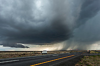 Supercell thunderstorm along a highway near Vaughn, NM, May 23, 2014