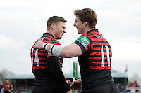 David Strettle of Saracens is congratulated by Chris Ashton of Saracens after scoring a try during the Heineken Cup Round 6 match between Saracens and Connacht Rugby at Allianz Park on Saturday 18th January 2014 (Photo by Rob Munro)