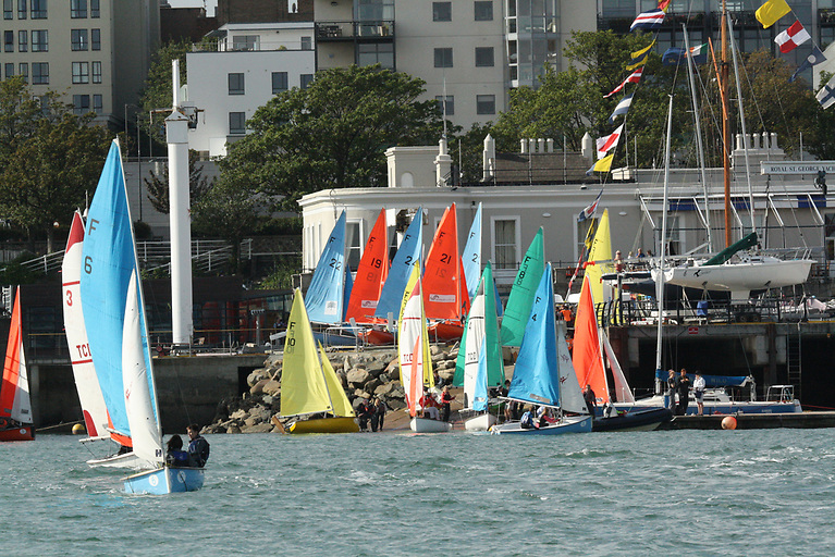 Preparing to launch for a previous edition of the Royal St. George's Elmo Trophy at Dun Laoghaire Harbour