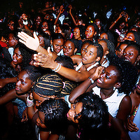 A crowd consisting almost exclusively of young women pack the Luanda club Esplanada 10 for a Saturday night Kuduru/Kuduro performance..