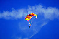 SKYDIVER DESCENDING WITH PARACHUTE OPEN. GIBERTSVILLE PENNSYLVANIA. USA.