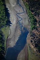 aerial photograph of Putah Creek, Napa County, California with limited flow before it enters Lake Berreyessa