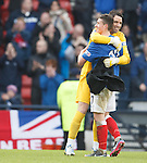 Fraser Aird and Neil Alexander have a big hug at the end