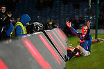 Kenny Miller celebrates his goal after crashing into the LED advert boards