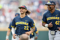 Michigan Wolverines outfielder Jordan Brewer (22) before Game 6 of the NCAA College World Series against the Florida State Seminoles on June 17, 2019 at TD Ameritrade Park in Omaha, Nebraska. Michigan defeated Florida State 2-0. (Andrew Woolley/Four Seam Images)