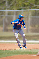 New York Mets Dash Winningham (35) leads off during a minor league Spring Training game against the Miami Marlins on March 26, 2017 at the Roger Dean Stadium Complex in Jupiter, Florida.  (Mike Janes/Four Seam Images)