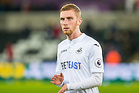 Oliver McBurnie leaves the pitch after the Premier League match between Swansea City and Bournemouth at The Liberty Stadium, Swansea, Wales, UK. Saturday 31 December 2016