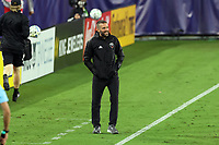 NASHVILLE, TN - SEPTEMBER 23: Head coach Ben Olsen of DC United argues a non-call with referee Tori Penso (not pictured) during a game between D.C. United and Nashville SC at Nissan Stadium on September 23, 2020 in Nashville, Tennessee.