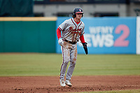 Jesse Franklin V (33) of the Rome Braves takes his lead off of second base against the Greensboro Grasshoppers at First National Bank Field on May 16, 2021 in Greensboro, North Carolina. (Brian Westerholt/Four Seam Images)