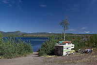 Wilderness Recreational Vehicle RV Camping beside Lake near Atlin, Northern BC, British Columbia, Canada