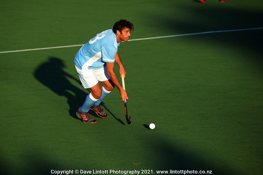 Action from the Wellington premier one men's hockey match between Hutt United and Indians at National Hockey Stadium in Wellington, New Zealand on Saturday, 15 May 2021. Photo: Dave Lintott / lintottphoto.co.nz