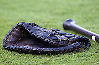 First baseman's glove at the Dell Diamond in Round Rock, Texas. (Andrew Woolley/Four Seam Images).