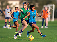 ORLANDO, FL - JANUARY 21: Jaelin Howell #26 defends Margaret Purce #23 of the USWNT during a training session at the practice fields on January 21, 2021 in Orlando, Florida.