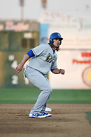 D.J. Peters (31) of the Rancho Cucamonga Quakes leads off of second base during a game against the Lancaster JetHawks at The Hanger on April 28, 2017 in Lancaster, California. Lancaster defeated Rancho Cucamonga, 16-10. (Larry Goren/Four Seam Images)
