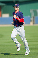 Bryce Harper #34 of the Hagerstown Suns jogs in the outfield prior to the game against the Rome Braves at State Mutual Stadium on May 2, 2011 in Rome, Georgia.   Photo by Brian Westerholt / Four Seam Images