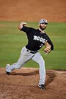 Chattanooga Lookouts starting pitcher Randy LeBlanc (27) delivers a pitch during a game against the Mobile BayBears on May 5, 2018 at Hank Aaron Stadium in Mobile, Alabama.  Chattanooga defeated Mobile 11-5.  (Mike Janes/Four Seam Images)