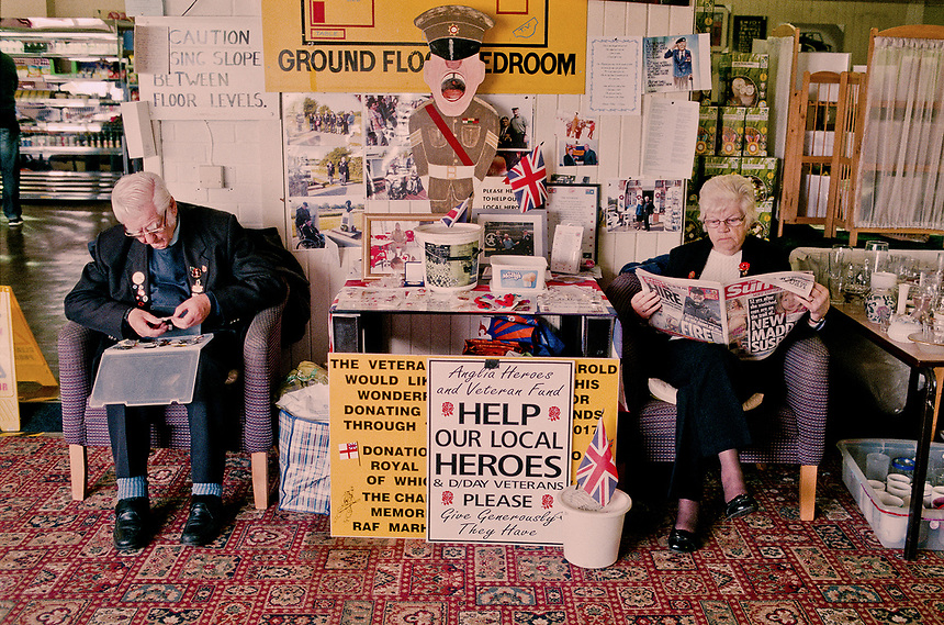 A couple collecting for the Help for Heroes charity at the Anglia Motel, Fleet Hargate, Lincolnshire.