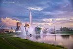 Dayton Ohio skyline with fountains