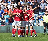 28th August 2021; Cardiff City Stadium, Cardiff, Wales;  EFL Championship football, Cardiff versus Bristol City; Bristol City players celebrate after Andreas Weimann scores to make it 0-1 in the 21st minute