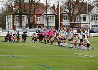 28th March 2021; Rosslyn Park, London, England; Betfred Challenge Cup, Rugby League, London Broncos versus York City Knights; York City Knights players kneel and stand and all London Broncos players kneel in support of anti-racism