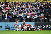 Max Green of Bath Rugby encourages his teammates in front of fans during the Gallagher Premiership Rugby match between Bath Rugby and Gloucester Rugby at The Recreation Ground on Saturday 8th September 2018 (Photo by Rob Munro/Stewart Communications)