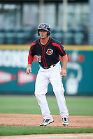 Rochester Red Wings right fielder Daniel Palka (37) leads off first base during a game against the Norfolk Tides on July 17, 2016 at Frontier Field in Rochester, New York.  Rochester defeated Norfolk 3-2.  (Mike Janes/Four Seam Images)