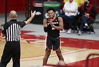 Georgia Sahvir Wheeler (2) reacts, Saturday, January 9, 2021 during the second half of a basketball game at Bud Walton Arena in Fayetteville. Check out nwaonline.com/210110Daily/ for today's photo gallery. <br /> (NWA Democrat-Gazette/Charlie Kaijo)