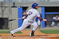 Kingsport Mets left fielder Victor Cruzado #17 swings at a pitch during a game against the Elizabethton Twins at Hunter Wright Stadium on June 29, 2013 in Kingsport, Tennessee. The Mets won the game 5-4. (Tony Farlow/Four Seam Images)