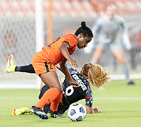 HOUSTON, TX - SEPTEMBER 10: Jasmine Spencer #22 of the Houston Dash gains control of a loose ball during a game between Chicago Red Stars and Houston Dash at BBVA Stadium on September 10, 2021 in Houston, Texas.