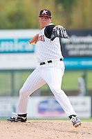 Relief pitcher Chase Cooney #23 of the Kannapolis Intimidators in action against the Lexington Legends at Fieldcrest Cannon Stadium on May 11, 2011 in Kannapolis, North Carolina.   Photo by Brian Westerholt / Four Seam Images