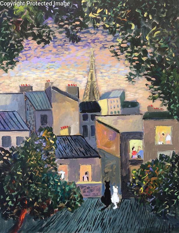 """Bonjour Paris!""<br /> Acrylic on Canvas<br /> 10.25"" x 13.75"" <br /> Custom French Delf Frame<br /> $7,000"