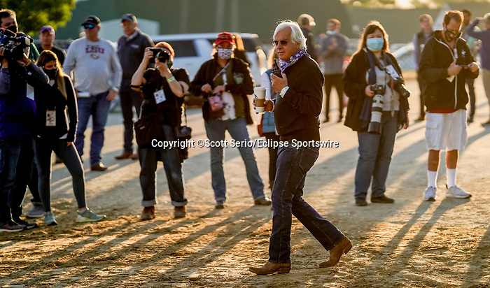 April 27, 2021: Trainer Bob Baffert walks to the track as horses prepare for the Kentucky Derby and Kentucky Oaks at Churchill Downs  Scott Serio/Eclipse Sportswire/CSM