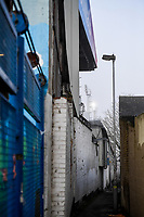 9th January 2021; Kenilworth Road, Luton, Bedfordshire, England; English FA Cup Football, Luton Town versus Reading; A deserted alley alongside Kenilworth Road stadium.