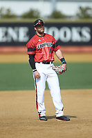Louisville Cardinals third baseman Justin Lavey (16) prior to the game against the Wake Forest Demon Deacons at David F. Couch Ballpark on March 17, 2018 in  Winston-Salem, North Carolina.  The Cardinals defeated the Demon Deacons 11-6.  (Brian Westerholt/Four Seam Images)