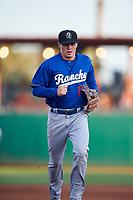 Rancho Cucamonga Quakes shortstop Gavin Lux (14) jogs off the field between innings of a California League game against the Stockton Ports at Banner Island Ballpark on May 16, 2018 in Stockton, California. Rancho Cucamonga defeated Stockton 6-3. (Zachary Lucy/Four Seam Images)