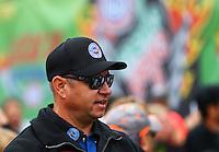 Aug 17, 2014; Brainerd, MN, USA; NHRA funny car driver Robert Hight during the Lucas Oil Nationals at Brainerd International Raceway. Mandatory Credit: Mark J. Rebilas-