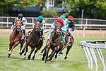 May 15, 2021 : Mean Mary, #5, ridden by jockey Luis Saez, wins the Gallorette Stakes on Preakness Stakes Day at Pimlico Race Track in Baltimore, Maryland on May 15, 2021. Wendy Wooley/Eclipse Sportswire/CSM