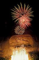 AJ2621, Stone Mountain, fireworks, Stone Mountain Park, Atlanta, Georgia, A firework display at the opening of the Laser Show on Stone Mountain in Georgia's Stone Mountain Park near Atlanta in the state of Georgia.