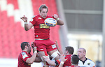 Dom Day takes the lineout ball..RaboDirect Pro 12.Scarlets v Munster..Parc Y Scarlets.21.04.12.©Steve Pope